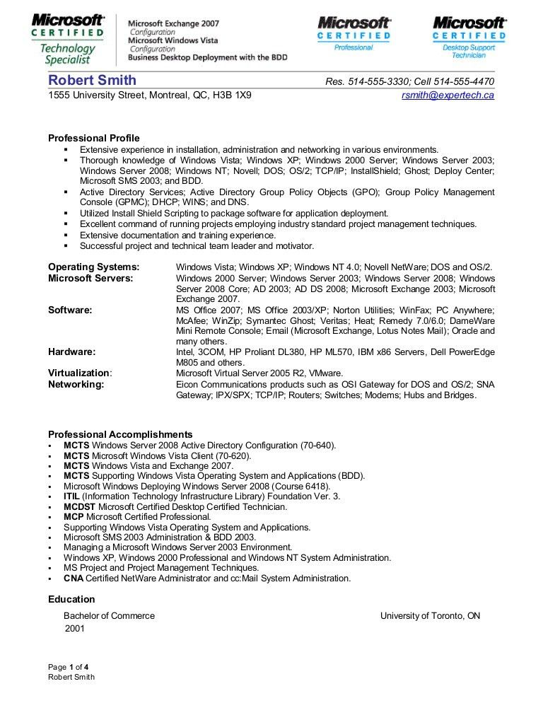 Download Windows Server Administration Sample Resume ...