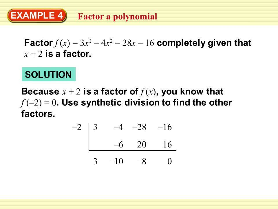 EXAMPLE 3 Use synthetic division - ppt video online download