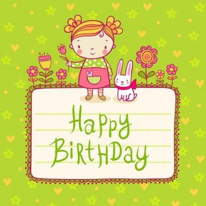 Cute kid birthday card templates vector - Vector Birthday, Vector ...