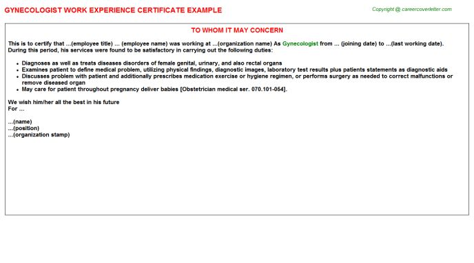 Gynecologist Work Experience Certificate