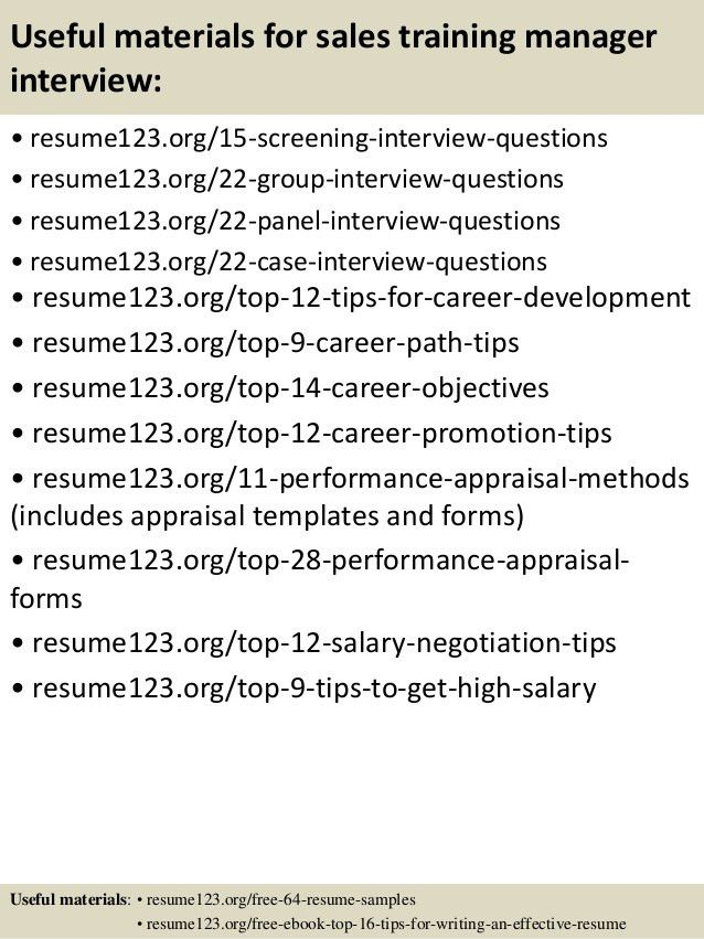 Top 8 sales training manager resume samples