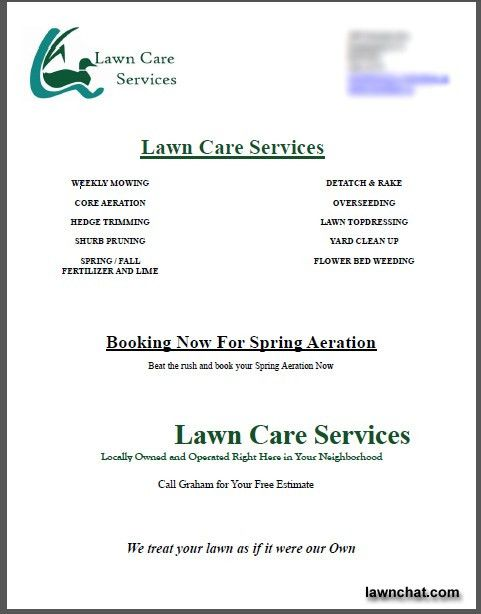 Spring lawn care flyer response rate. | Lawn Care Business ...