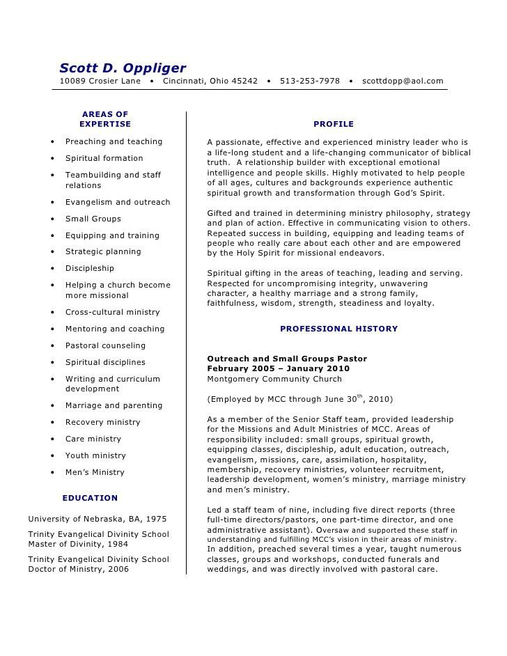 Free Examples Of Pastoral Resumes How To Write A Pastor Resume .  Pastor Resume Samples