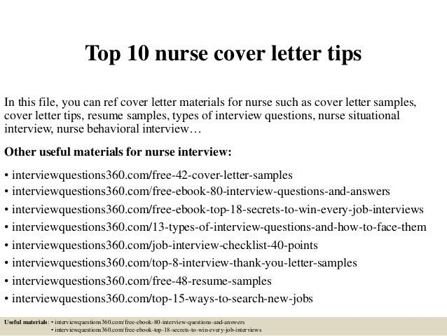 cover letter for nurses sample