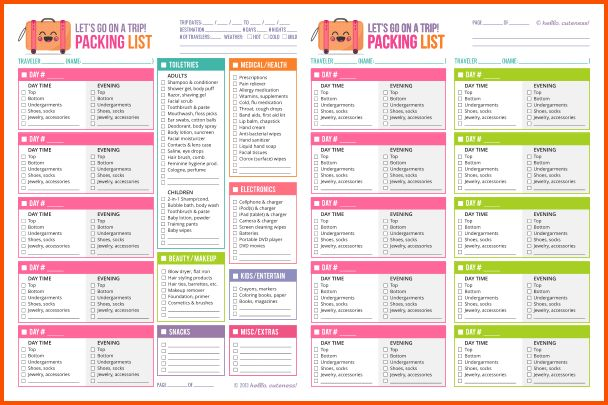 14+ vacation packing list template | Survey Template Words