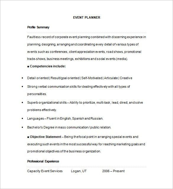 Event Planner Resume Template – 11+ Free Samples, Examples, Format ...