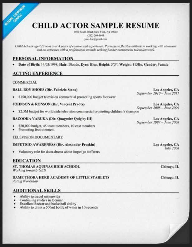 actor resume template. acting template child actor resume format 9 ...