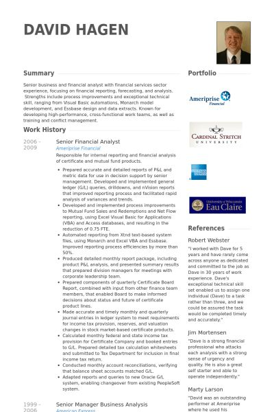 Senior Financial Analyst Resume samples - VisualCV resume samples ...