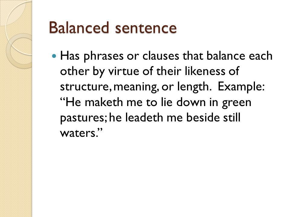 Syntax Terms. Loose or cumulative sentence Has its main clause at ...