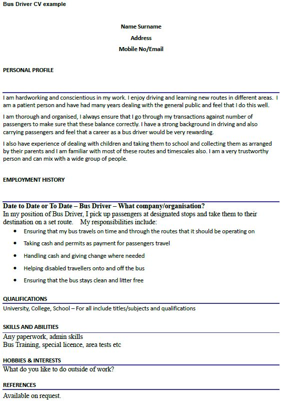 Bus Driver CV Example - icover.org.uk