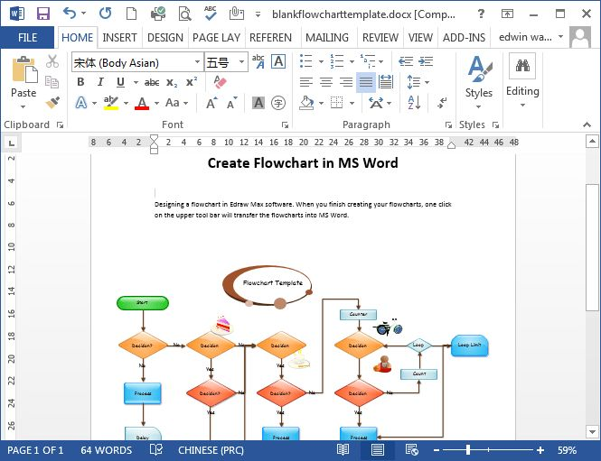 ms word flowchart