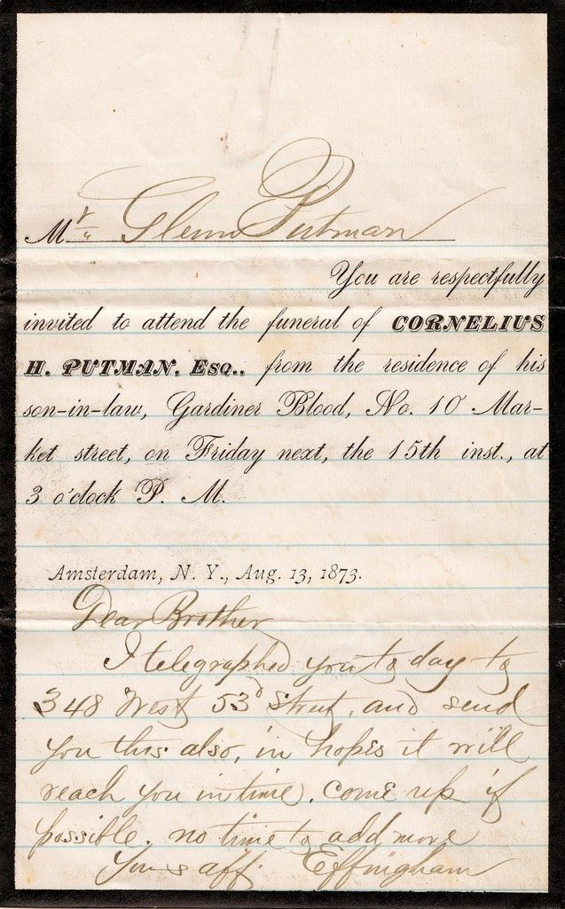 "Funeral Invitation and Letter, 1873 | ""Mr. Glenn Putman, ""Yo… 
