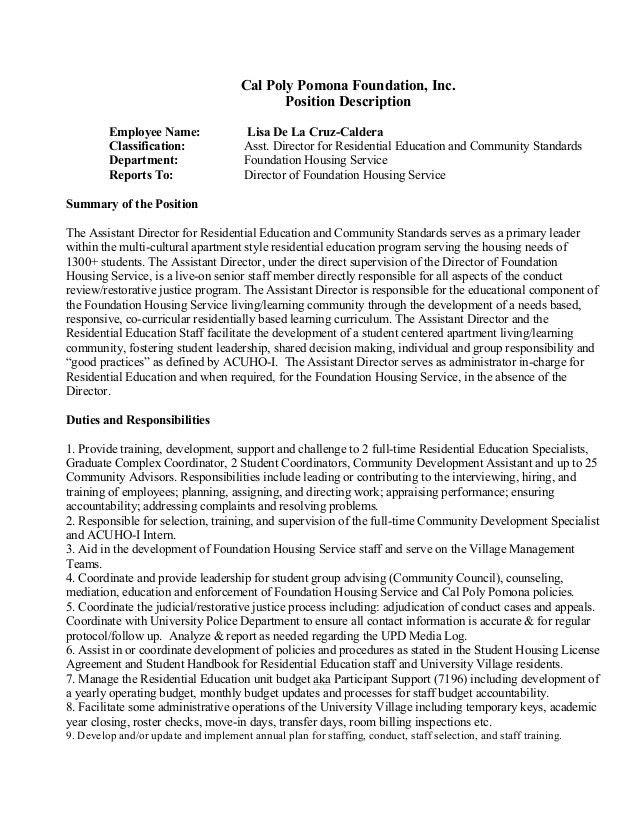 Cal Poly Pomona Foundation, Assistant Director Job Description