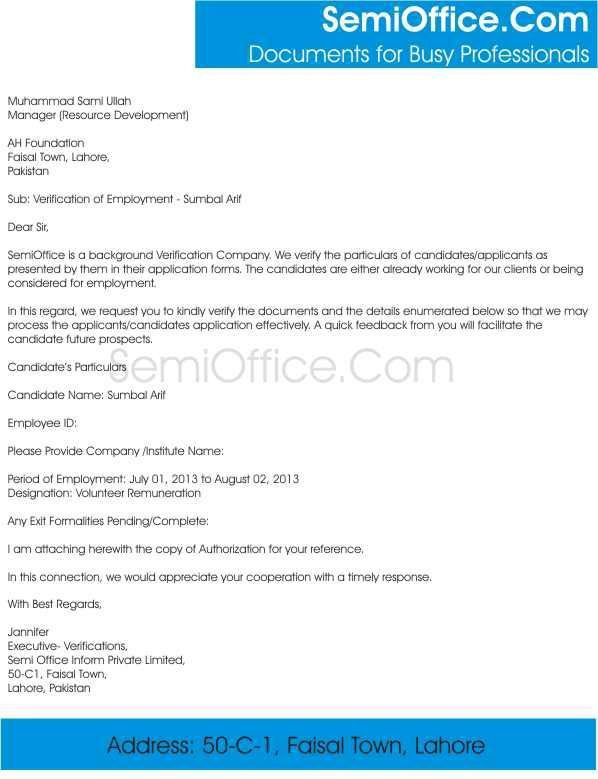 Employment Verification Letter Template For Visa Employment – Sample Job Verification Letter