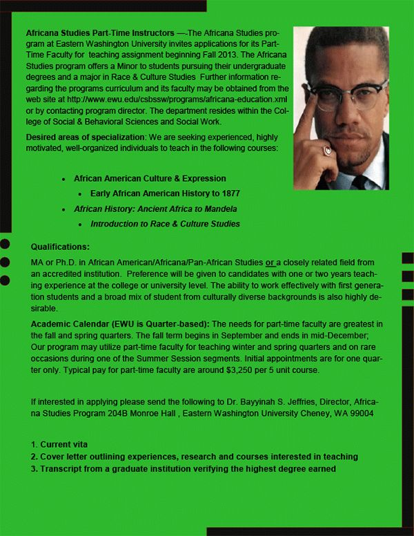 Part-Time Assistant Professor, African American Studies, Eastern ...