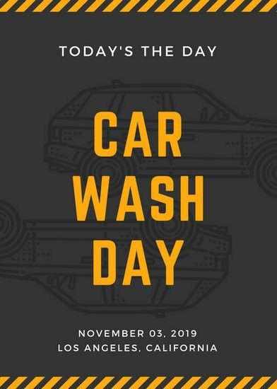 Orange and Black Car Outline Car Wash Flyer - Templates by Canva