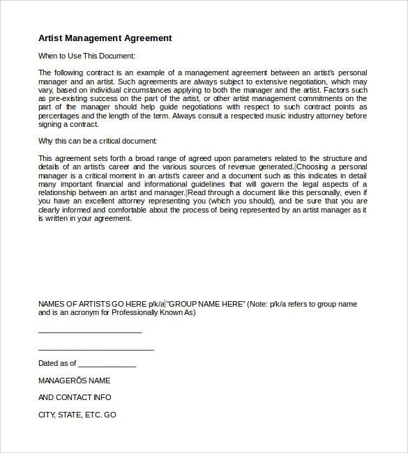 Artist Management Contract Template - 7+ Download Documents in PDF ...