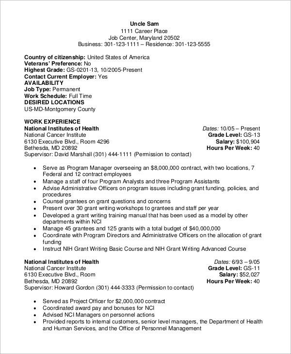 Sample Federal Resume - 8+ Examples in Word, PDF