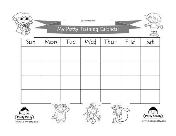 Dora the Explorer - Potty Training Calendar - Black & White ...