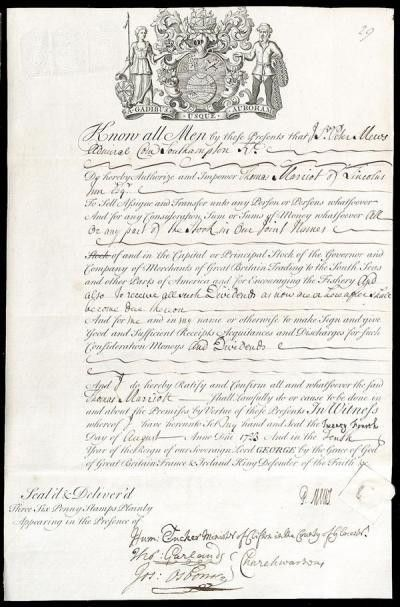 Share certificate of the South Sea Company. - The working Thames ...