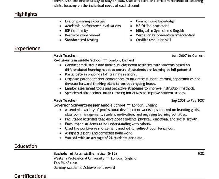 Extraordinary Design Teacher Resume Sample 8 17 Best Ideas About ...