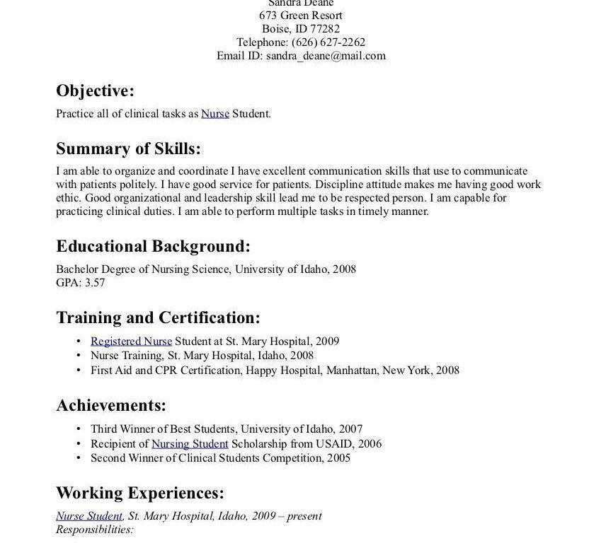 Nursing Student Resume Builder. student nurse resume samplenursing ...