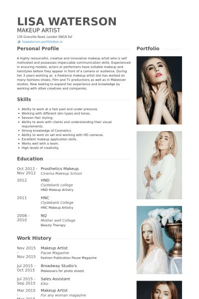 makeup artist sample resume