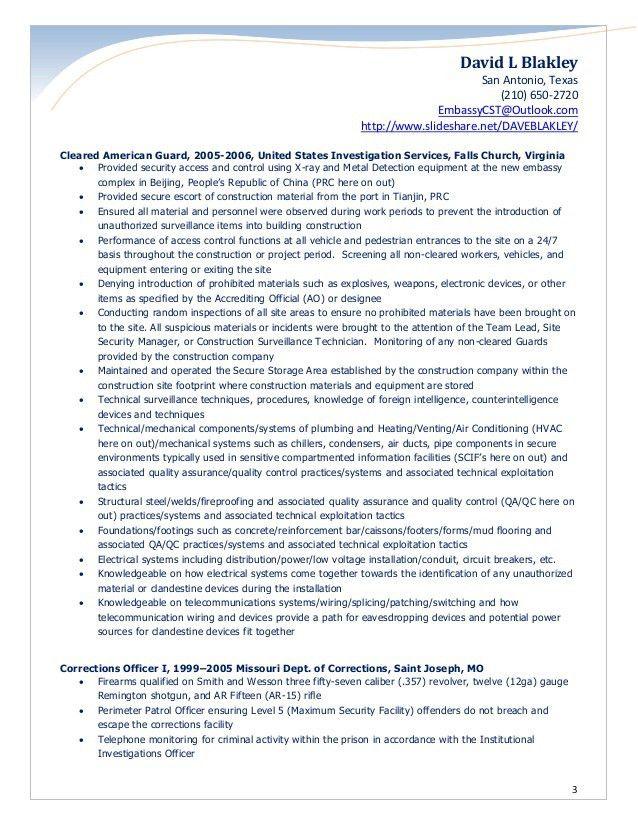 Blakley Security Officer Resume 2017