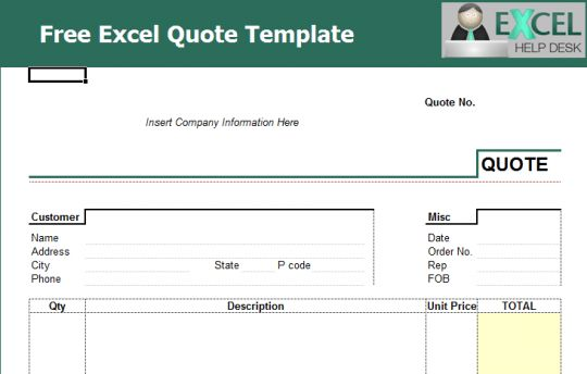 quote invoice template excel