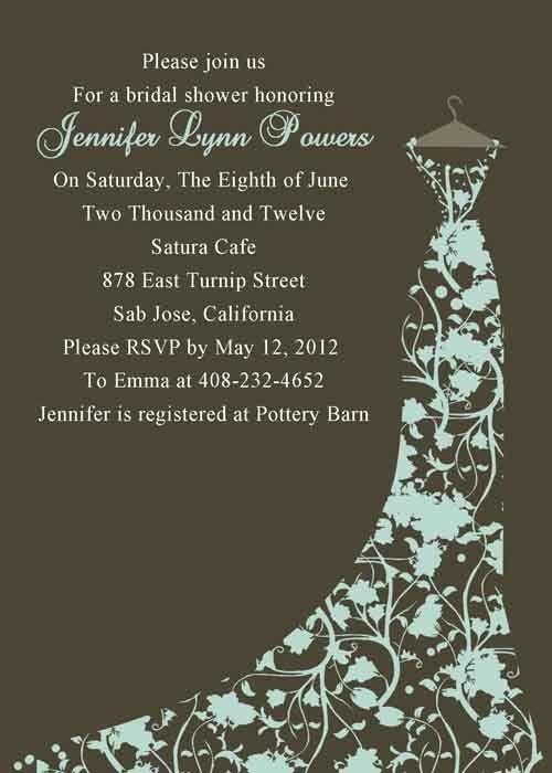 Cheap brown floral gown bridal shower invitations printable ...
