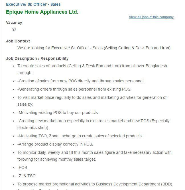 Hayes Haier Appliances Co. Ltd Sales Executive Job Circular ...
