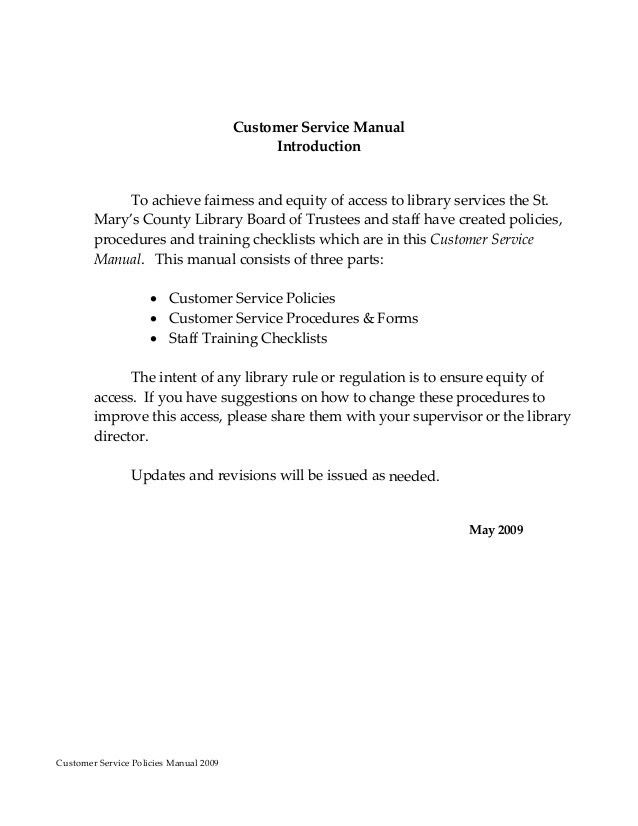 Customer service policy manual un11