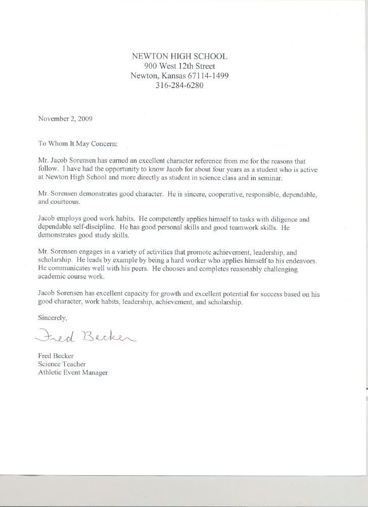 Brilliant Ideas of Sample Character Reference Letter High School ...