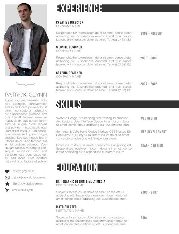 11 Dazzling Creative Resume Templates | Photoshop, Creative and Cv ...