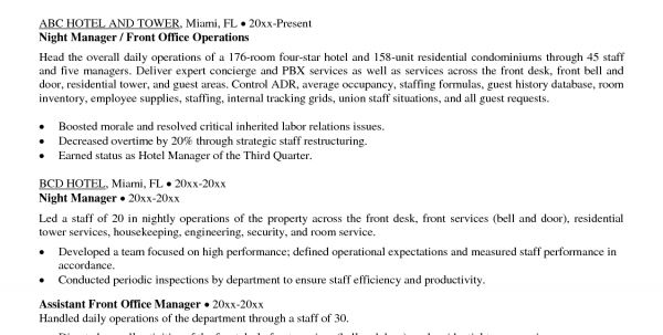 hospitality management cover letters