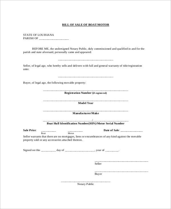 Sample Blank Bill of Sale - 9+ Examples in PDF, Word