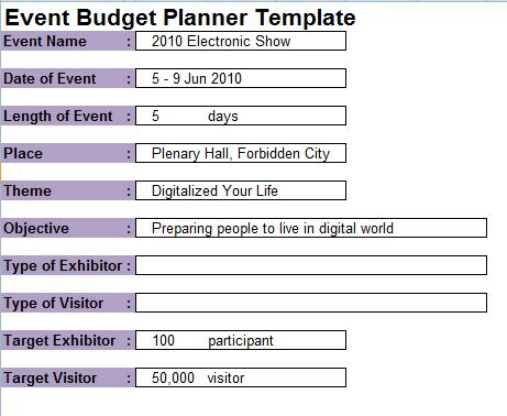 sample event planner | MS Office Guru