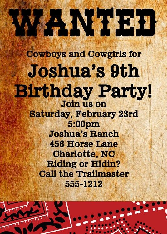 Wanted Poster Invitations | Western Birthday Party Invitations ...
