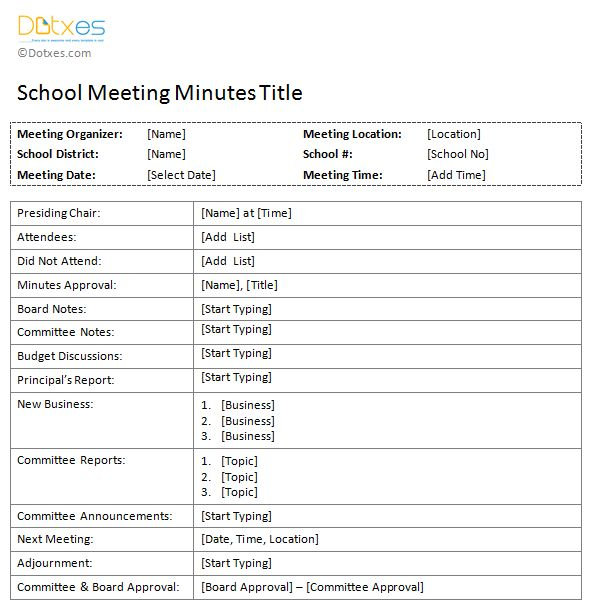 School Meeting Minutes Template - Dotxes