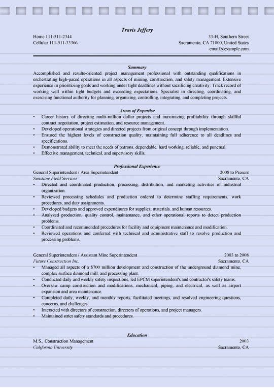 4+ Superintendent Resume Sample - MS Word (.doc) Format