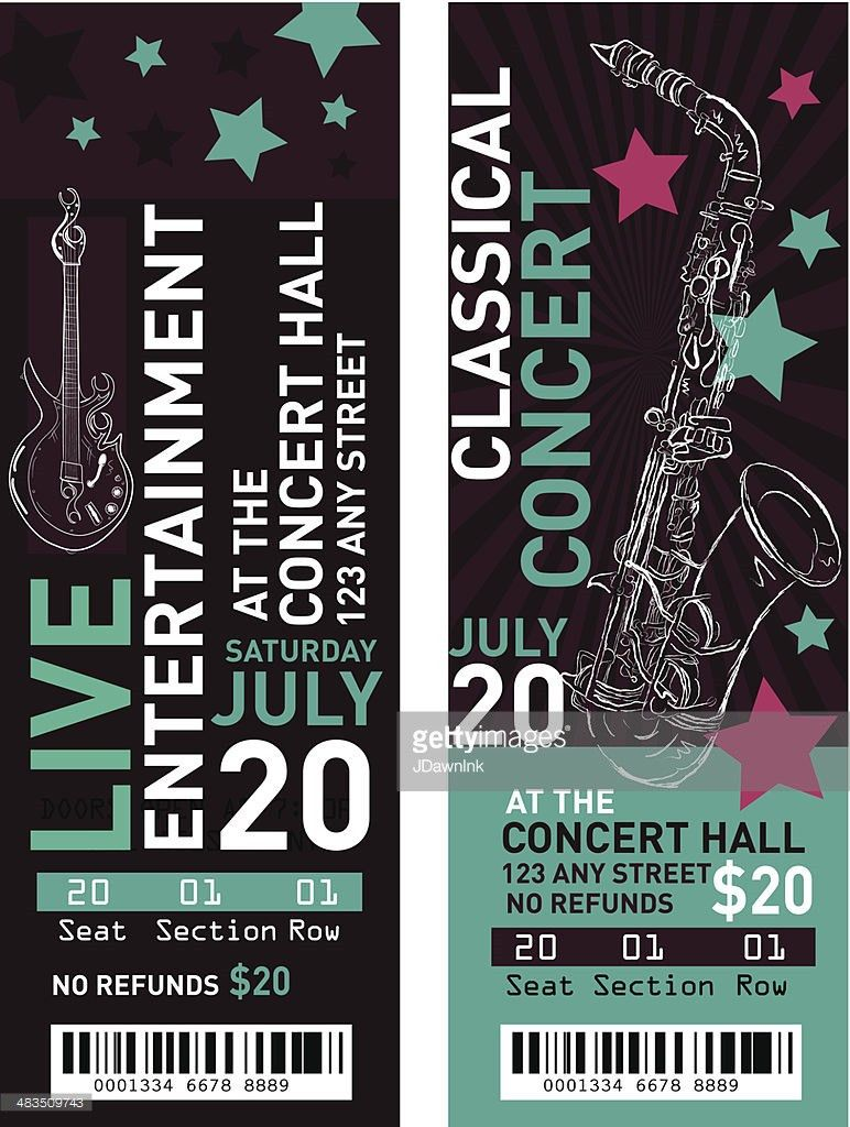 Colorful Set Of Classical Entertainment Concert Ticket Templates ...