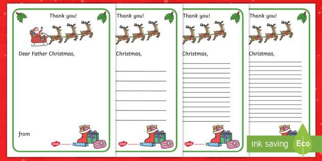 Thank You Letter to Father Christmas Writing Template - thank