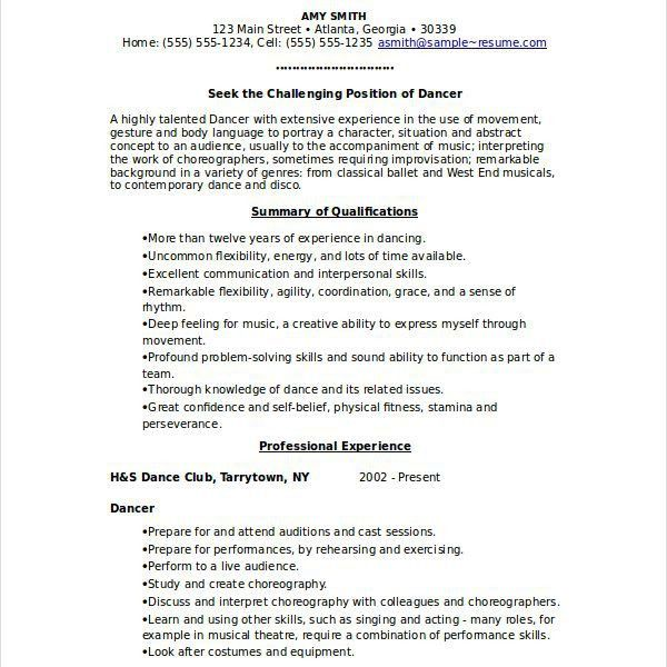 Beautifully Idea Dance Resume Template 10 Dancer Resume Template ...