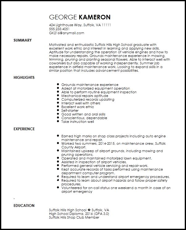 Free Entry Level Maintenance Technician Resume Template | ResumeNow