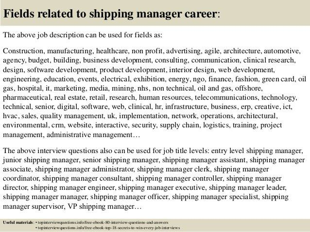 Top 10 shipping manager interview questions and answers