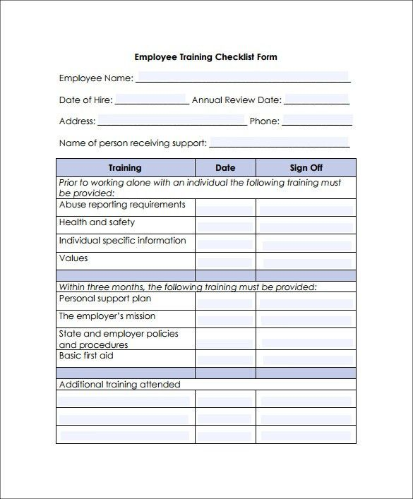 Training Checklist Templates - Find Word Templates