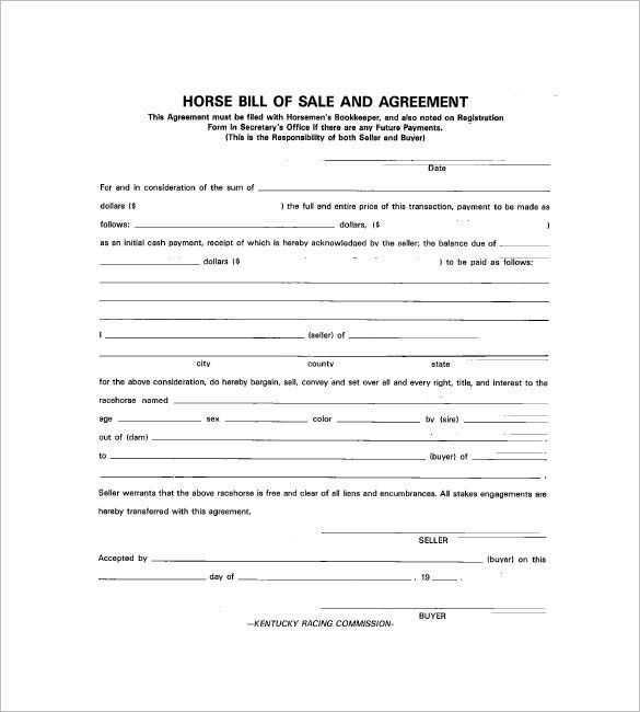 Horse Bill of Sale – 8+ Free Sample, Example, Format Download ...