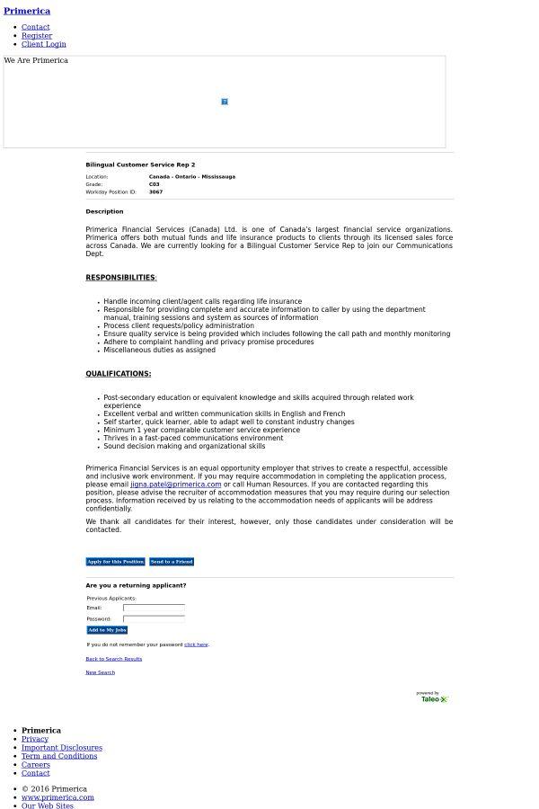 Bilingual Customer Service Representative 2 job at Primerica in ...