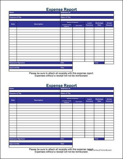 Free Small Simple International Travel Expense Report From Formville