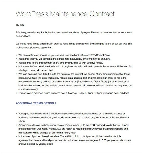 Maintenance Contract Template - 9+ Download Free Documents in PDF ...